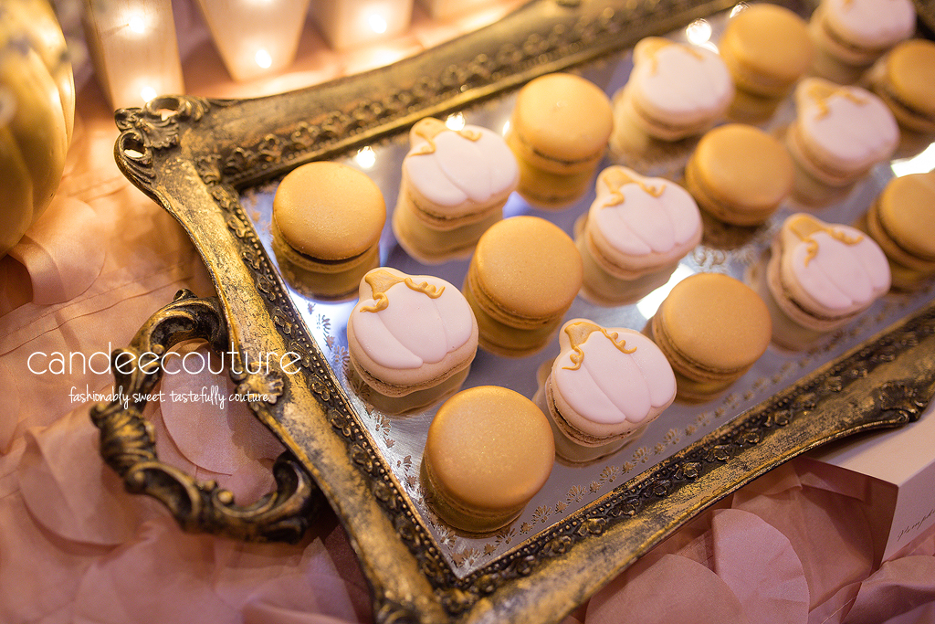 Pink Pumpkin Macarons, Gold and Pink Macarons, French Macarons, Mila's Pumpkin Patch Sweet Table by Candee Couture, Pumpkin Patch Sweet Table, Sweet Treats, Candy Table, Dallas Texas, Plano Texas, Mila's Pumpkin Patch Sweet Table, Candee Coture, Pumpkin Treats, Pink Pumpkins, Caramel Pumpkins, Pumpkin Carriage, Sweet Table