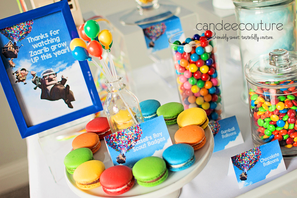 Pixar Up theme macarons, Up macarons, hot air balloon macarons, Pixar up theme dessert table, balloons, pixar up theme table, pixar up theme backdrop, up theme macarons, up theme party, birthday, up theme