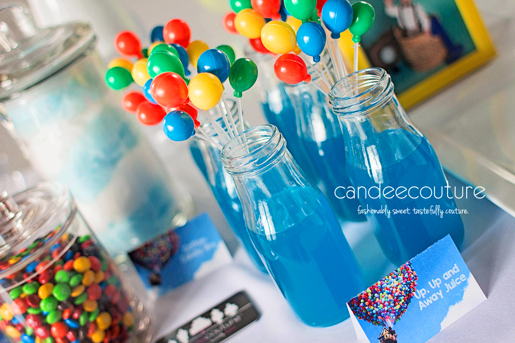 Pixar Up theme juice, Up juice, hot air balloon macarons, Pixar up theme dessert table, balloons, pixar up theme table, pixar up theme backdrop, up theme juice, up theme party, birthday, up theme