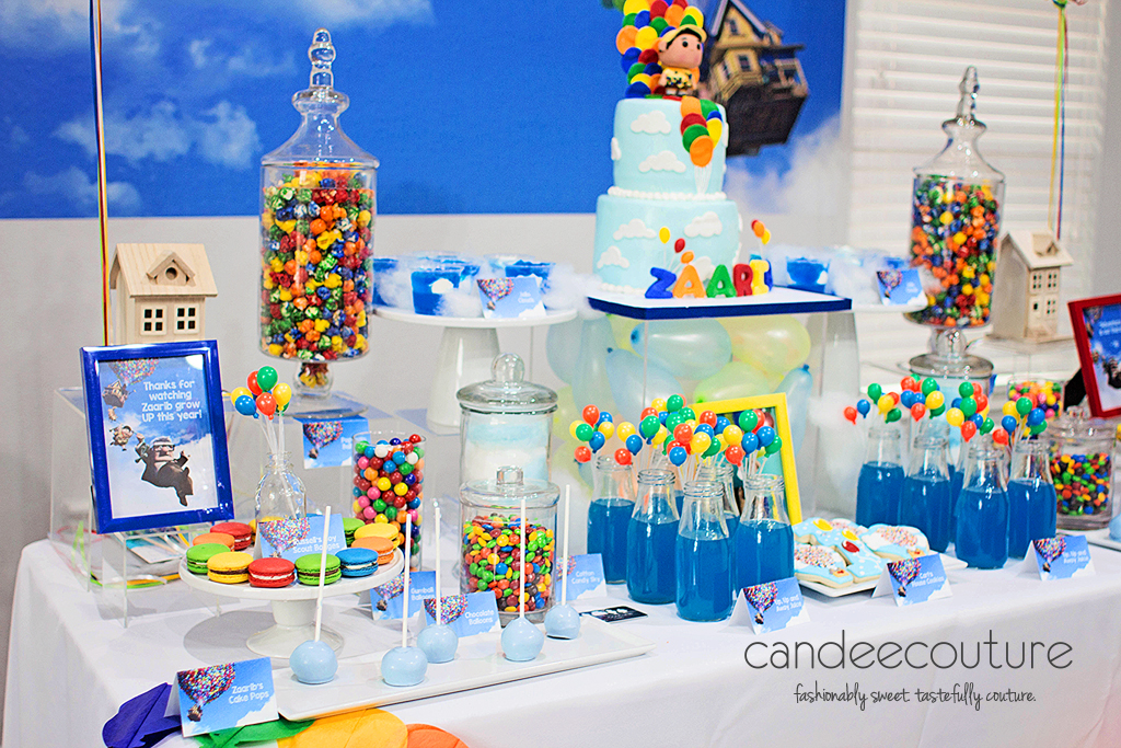 Pixar Up theme cake, Pixar up theme dessert table, up cake, Pixar Up cake, balloons, pixar up theme table, pixar up theme backdrop, sky pops, up theme cookies, up theme party, birthday, up theme