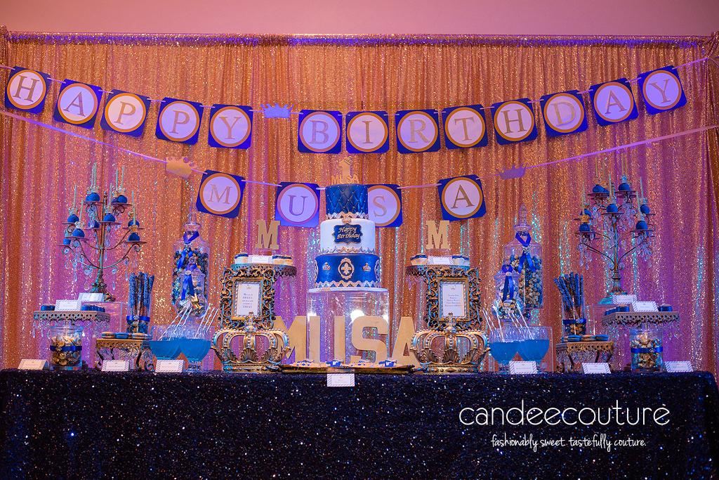 Dessert table, sweet table, prince theme table, prince, crown pops, crown cookies, macarons, prince party, birthday, prince theme, prince cake, royal prince cake, crown