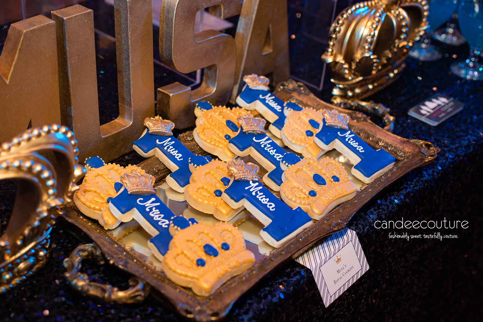 Royal prince theme cookies, prince cookies, royal prince cookies, prince theme dessert table, royal prince theme table, gold backdrop, royal prince cookies, royal prince party, birthday, royal prince theme