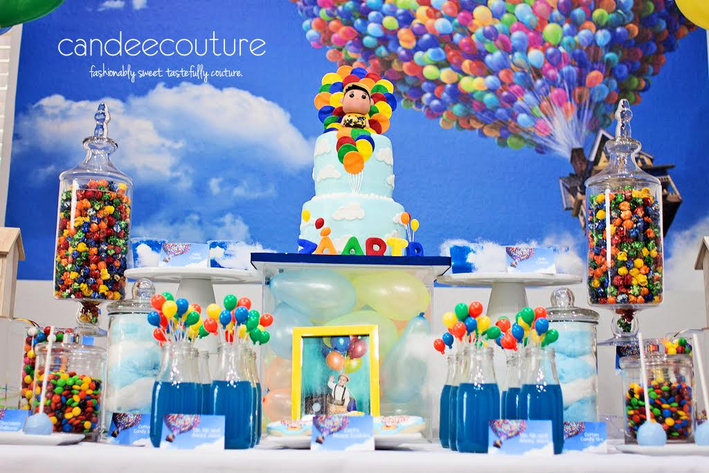 Pixar Up theme cake, Pixar up theme dessert table, up cake, Pixar Up cake, balloons, pixar up theme table, pixar up theme backdrop, sky pops, up theme cookies, up theme party, birthday, up theme