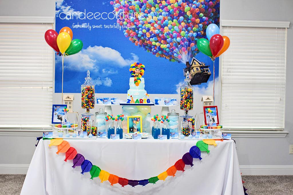 sweet table, pixar up theme table, pixar up theme backdrop, sky pops, up theme cookies, macarons, up theme party, birthday, up theme, up cake, Pixar Up cake, balloons,