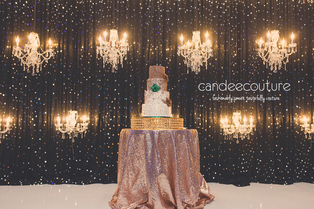 wedding cake, elegant wedding cake, gold wedding cake, gold and white wedding cake, gold and green wedding cake, beaded wedding cake, gold and bronze wedding cake