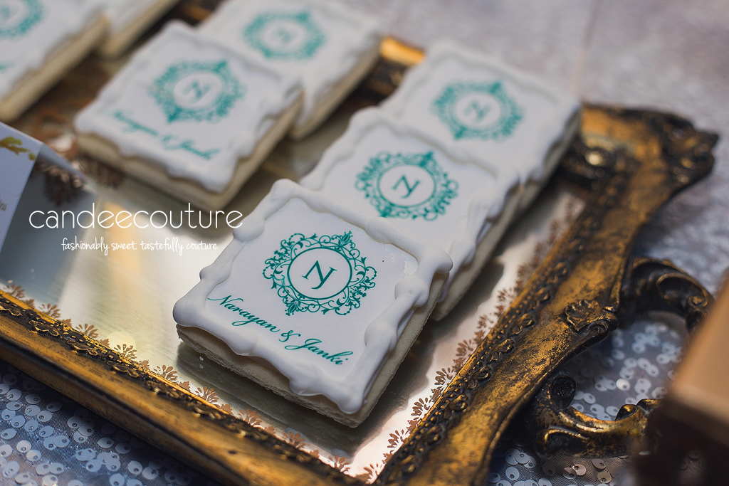 monogrammed cookies. Sweet Treats, cookies, custom cookies, Dessert table, sweet table, wedding dessert table, wedding reception dessert table, green monogram cookies, cookies with initials, wedding, reception, wedding inspiration, luxury wedding, logo cookies, custom logo cookies
