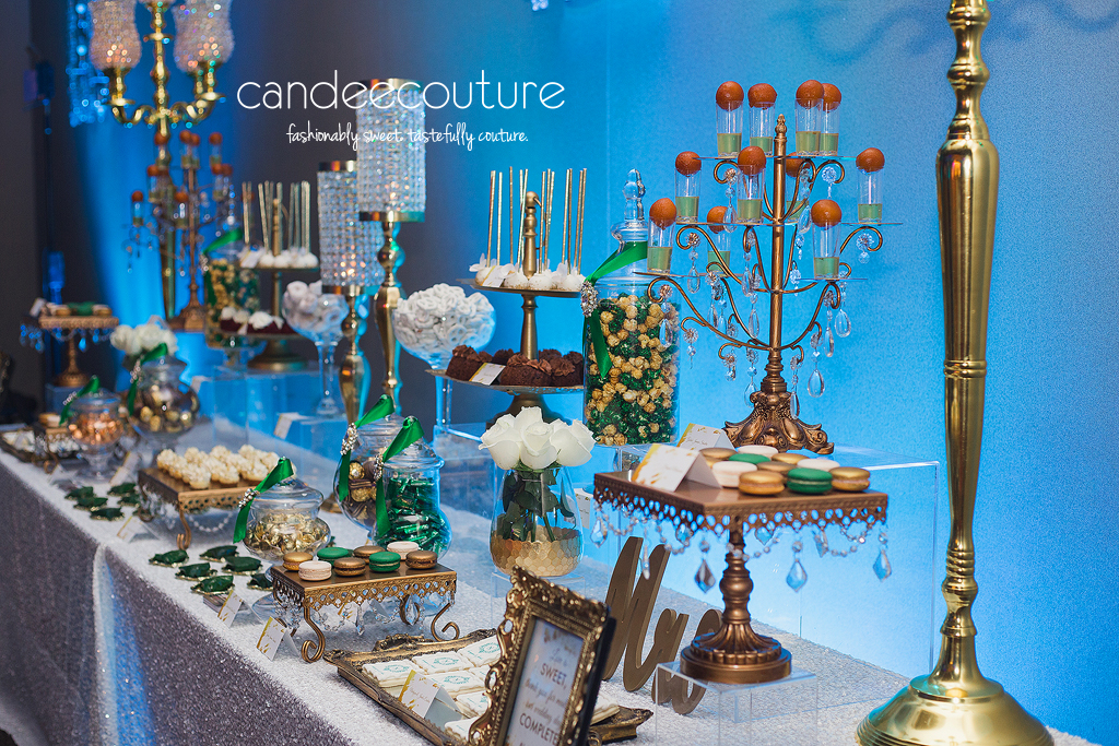 Wedding dessert table, dessert table, green and gold dessert table, cake pops, monogrammed cookies, initial macarons, wedding, reception, luxury wedding, cheesecake bites, paan, mithai, gulab jamun, bundt cakes, candy, chocolate, sweet table