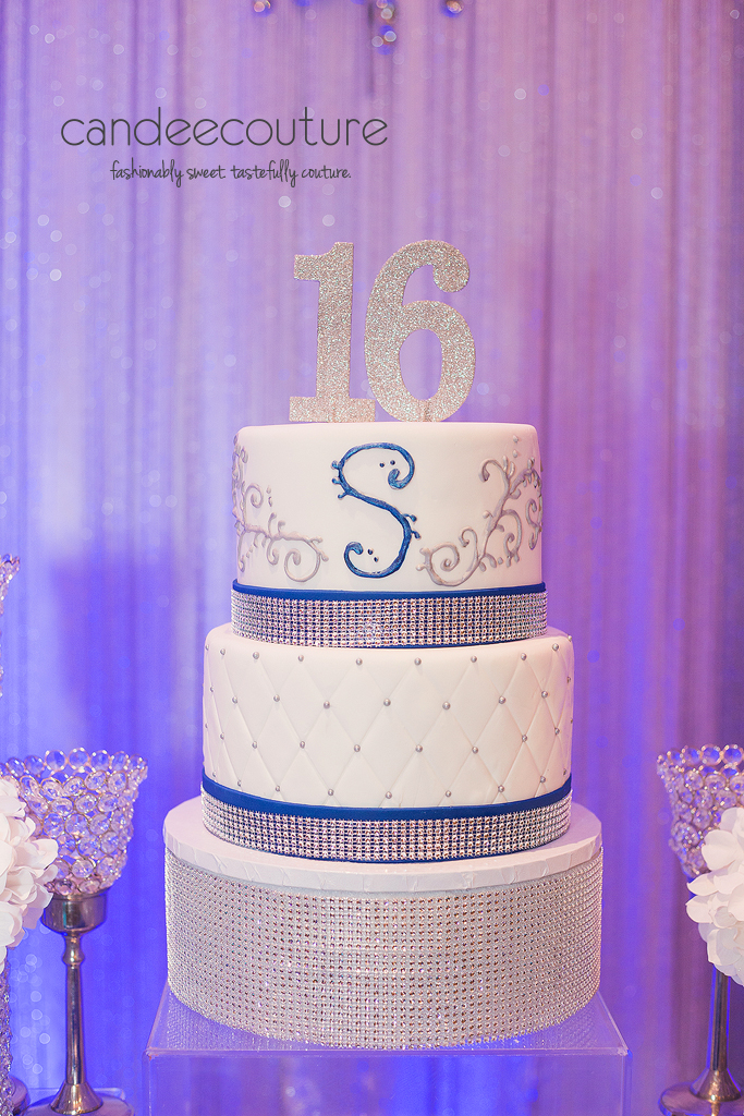 Sparkly sweet 16 theme cake, sweet 16 cake, sparkly sweet 16 cake, sweet 16 sweet table, sparkly sweet 16 theme table, silver backdrop, sweet 16 party, birthday, sweet 16