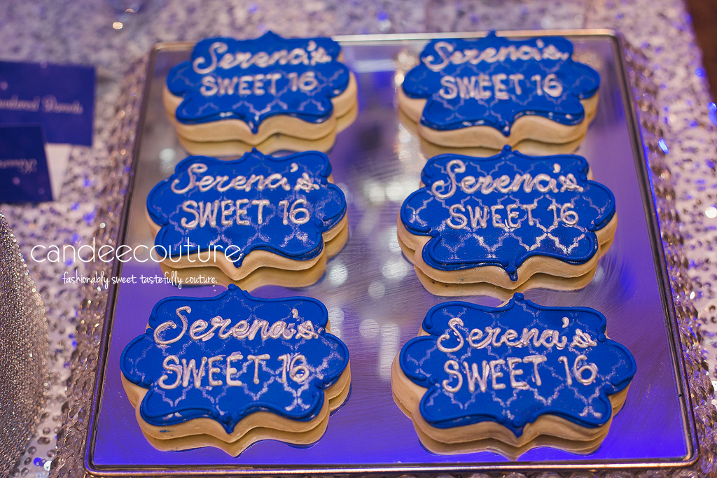 Sparkly sweet 16 theme cookies, sweet 16 cookies, sparkly sweet 16 cookies, sweet 16 sweet table, sparkly sweet 16 theme table, silver backdrop, sweet 16 party, birthday, sweet 16, cookies