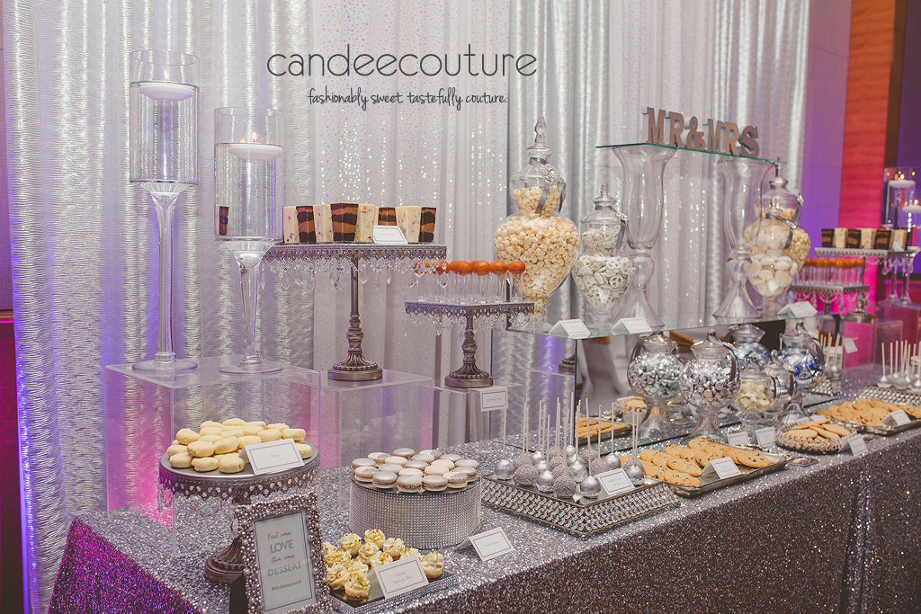 Classy dessert table, Wedding dessert table, dessert table, silver dessert table, mirror dessert table, wedding, reception, luxury wedding, cake pops, cookies, macarons, cheesecake bites, mithai, dessert shooters, candy, chocolate, sweet table