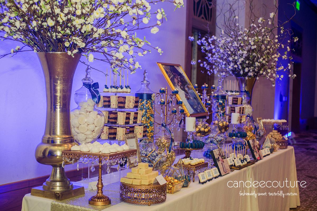 Luxury wedding, Luxury dessert table, cake pops, cookies, macarons, cheesecake bites, mithai, dessert shooters, candy, chocolate, sweet table, Wedding dessert table, dessert table, blue dessert table, wedding, reception, luxury wedding, Indian wedding, Indian wedding dessert table