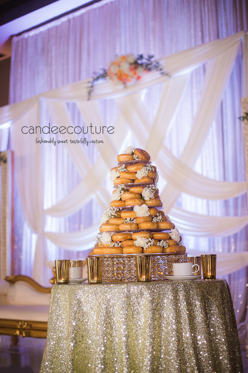 Trendy wedding donut bar by candee couture dallas texas luxury donut wedding cake dallas donut wedding cake wedding cake donut display donuts junglespirit Gallery