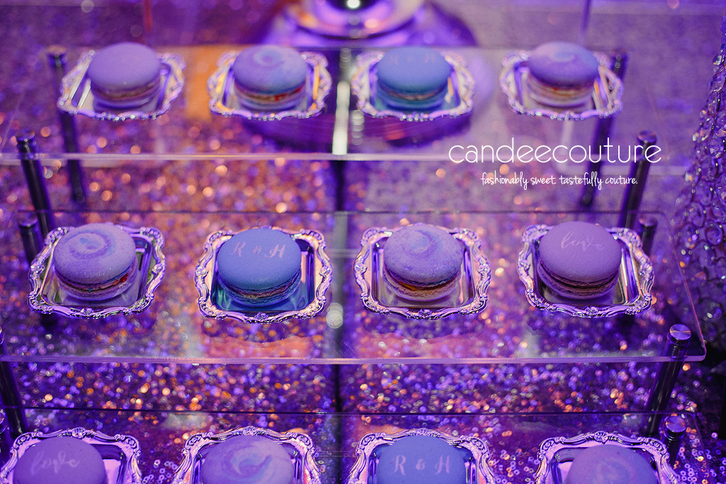 Galaxy, Galaxy theme, Galaxy theme wedding, Starry Night theme wedding, Galaxy macarons, Starry Night theme macarons, Starry Night macarons, elegant macarons, monogram macarons, wedding macarons, blue macarons, purple macarons, macarons, purple and blue macarons initial macarons, macarons with initials