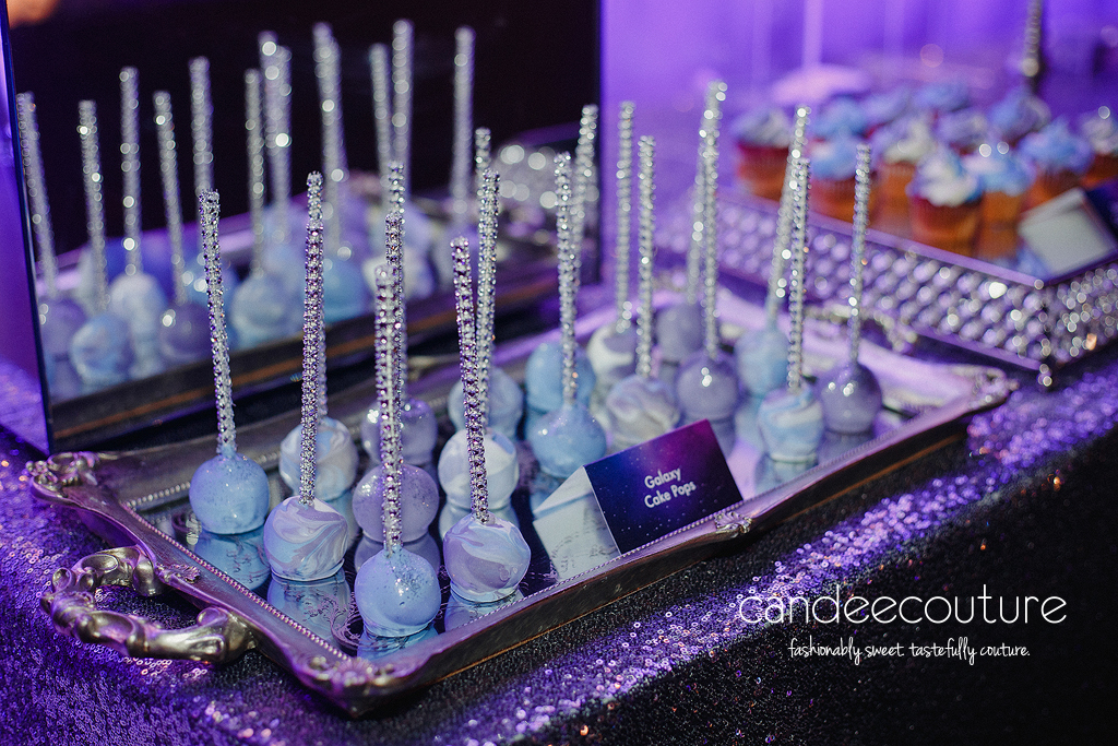 Starry Night theme wedding, Starry Night Galaxy, Galaxy theme, Galaxy theme wedding, Galaxy cake pops, Starry Night theme cake pops, Starry Night cake pops, elegant cake pops, monogram cake pops, wedding cake pops, blue cake pops, purple cake pops, cake pops, purple and blue cake pops initial cake pops