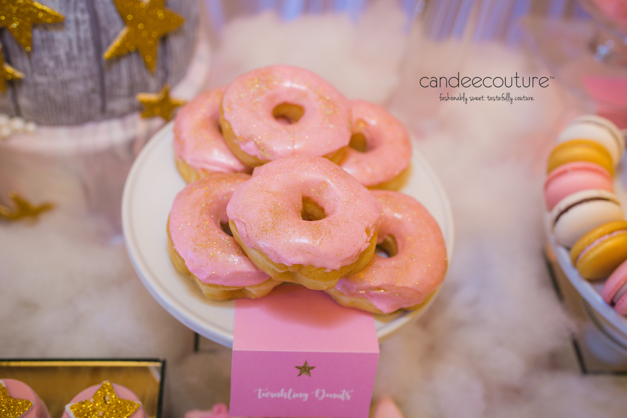 Pink Glitter Donuts, Twinkle Twinkle Little Star donuts, glitter donuts, personalized donuts, star macarons, twinkle twinkle little star macarons, sweet table, dessert table, twinkle twinkle little star birthday party, birthday, party, party ideas, twinkle twinkle little star theme, twinkle twinkle