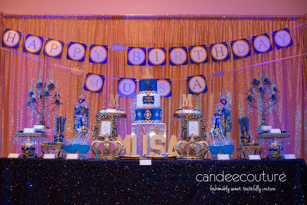Dessert table, sweet table, prince theme table, prince, crown pops, crown cookies, macarons, prince party, birthday, prince theme, prince cake, royal prince cake, crown
